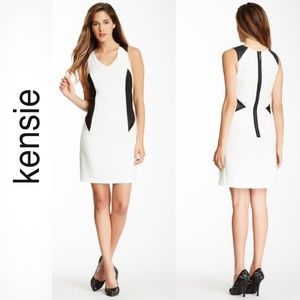 Kensie Black White Color Block Dress size Medium